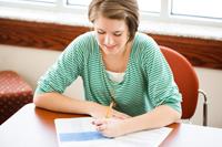 Student writing an exam